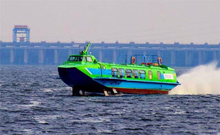 Hydrofoil Polissya-5 start navigation Kherson - Nova Kahovka on Dnipro river