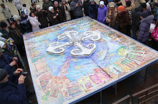 The largest Christmas gingerbread postcard was created in Odessa