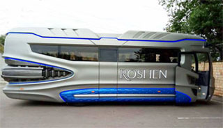 Kiev Roshen Chocolate Factory Tours by Space Bus start in January 2019 | Side View