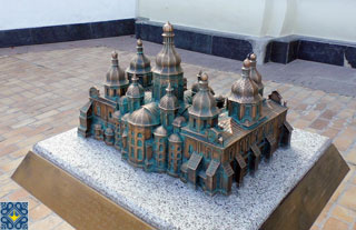 St Sophia Cathedral 3D Scale Model set in front of St Sophia Bell Tower