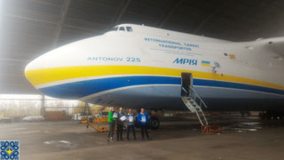 Antonov Plant Tour | Aviation Enthusiasts from United Kingdom, Sweden, Austria in front of Antonov AN-225 Mriya