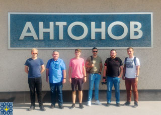 Antonov Plant Tour | Aviation Enthusiasts from Krakow EPKK Spotters Group in front of Antonov Serial Production Plant