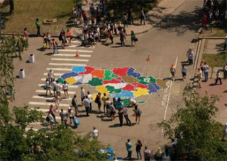 Students of Kharkiv Polytechnic Institute created a map of Ukraine of 60 000 plastic bottle caps