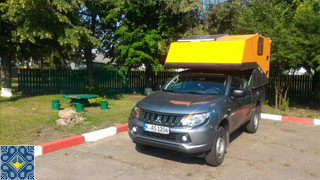 Kiev Campsite Chayka Guests | Germany | Simon and Friend | Camper Van Mitsubishi Pickup L200